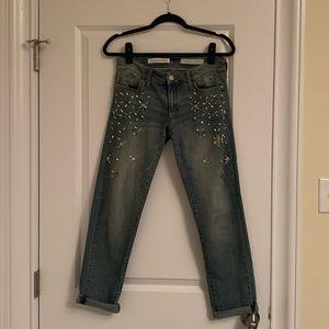 Anthropologie/ Pilcro beaded boyfriend jeans